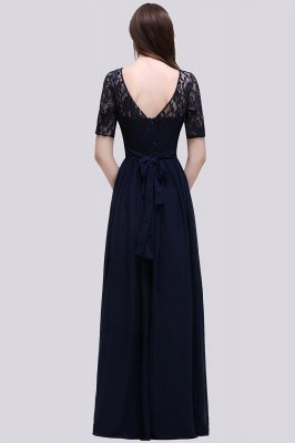 Elégante A-ligne en mousseline de soie dentelle scoop demi-manches robe de demoiselle d'honneur au sol_2