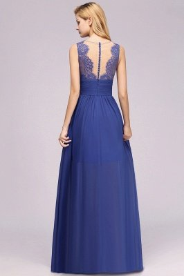 Chiffon Lace Jewel Sleeveless Long Train Ruffles Short Bridesmaid Dress_3