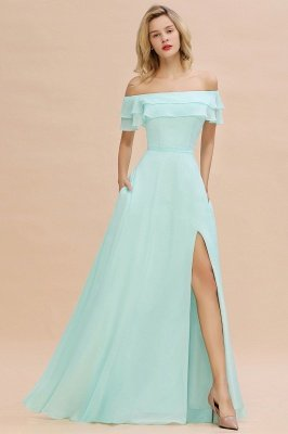 High Quality Off-the-Shoulder Front-Slit Mint Green Bridesmaid Dress_3