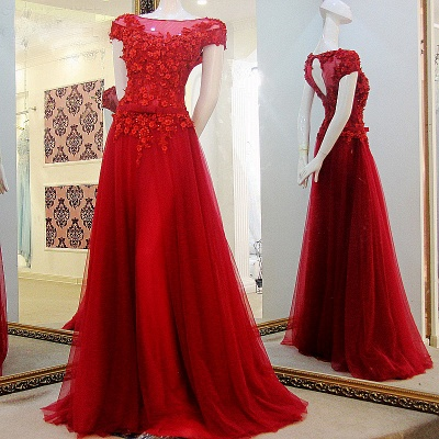 Exquisite Red Tulle Flowers Sleeveless Long Quinceanera Dress