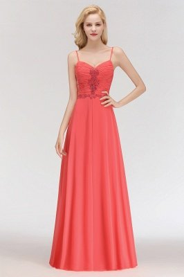 Madeline | Modern Ruffles Appliques Spaghetti-Straps Cheap Bridesmaid Dress