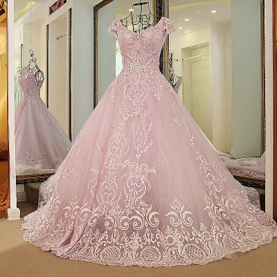 Cap Sleeves Sweetheart Appliques Quinceanera Dress