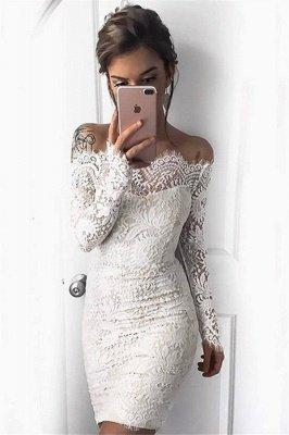Vestidos de fiesta de cóctel cortos de sirena de manga larga blanco simple_1