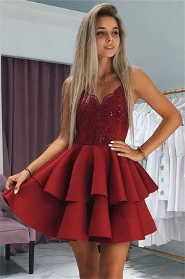 Fashion Layers Homecoming Dresses  Spaghetti Straps Lace Hoco Dresses with Appliques_2