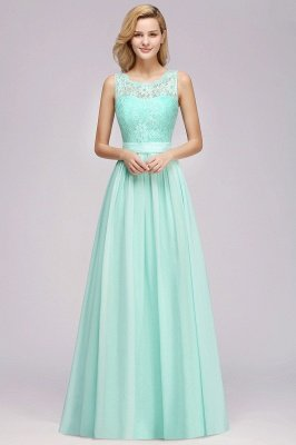 Modest Chiffon Lace Scalloped Sleeveless Long A-Line Ruffles Bridesmaid Dress