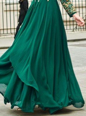 Emerald Green Sadi Arabia Long Chiffon Evening Dresses With Sleeves_3