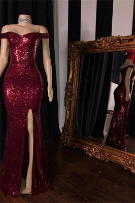 Burgundy Off-The-Shoulder Sequins Side-Slit Mermaid Prom Dresses_2