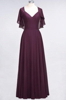Chiffon Satin A-Line V-Neck short-sleeves Long Bridesmaid Dress_1