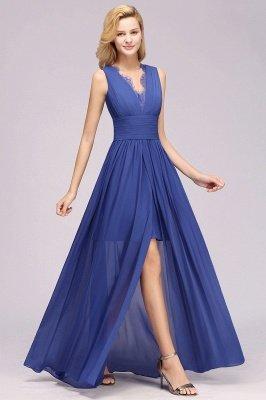 Chiffon Lace Jewel Sleeveless Long Train Ruffles Short Bridesmaid Dress_5