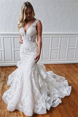 Glamorous Straps Ruffle Lace Appliques Mermaid Wedding Dresses