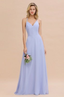 Stylish Chiffon Spaghetti-Straps Sleeveless Cheap Outdoor Bridesmaid Dress