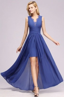 Cheap Chiffon Lace Jewel Sleeveless Long Train Ruffles Short Bridesmaid Dress