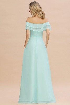 Vestido de dama de honor con abertura delantera fuera del hombro_2