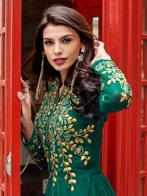 Emerald Green Sadi Arabia Long Chiffon Evening Dresses With Sleeves_2