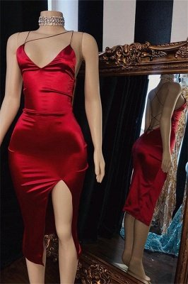 Sexy Spaghetti-Straps Side-Slit Short Home-Coming Dresses