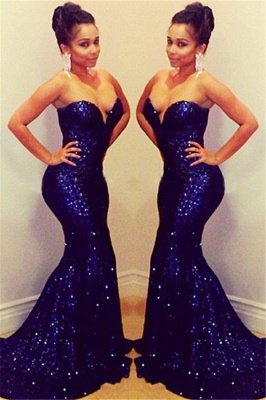 Sparkly Sequined Prom Dress Sweetheart Sequined Mermaid Sexy Evening Gowns with Train_1
