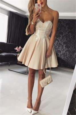 Hot Champagne Homecoming Dresses | Sweetheart Neckline Puffy Hoco Dresses_3