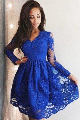 Schlichte Blau Spitze Cocktailkleider | Schöne Kleider Spitze Langärmel_2