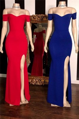 Elegant Simple Off-The-Shoulder Side-Slit Mermaid Prom Dresses