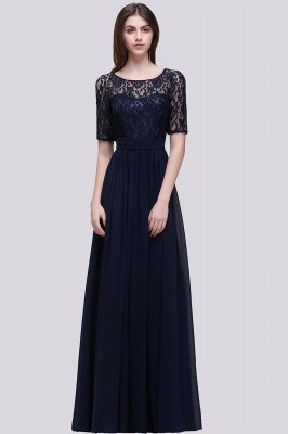 Custom Made A-line Chiffon Lace Scoop Half-Sleeve Floor-Length Bridesmaid Dress with Round back