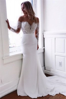 Glamorous Appliques Long-Sleeves Mermaid Wedding Dresses