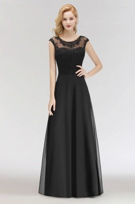 Latest Chiffon Scoop Sleeveless Cheap Long Lace Bridesmaid Dress Online