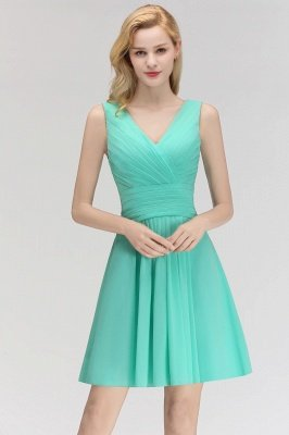 Mabel | Modest Ruffles Sexy V-Neck Sleeveless Short Cheap Bridesmaid Dress