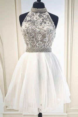High-Neck Lace Sleeveless Homecoming Dress