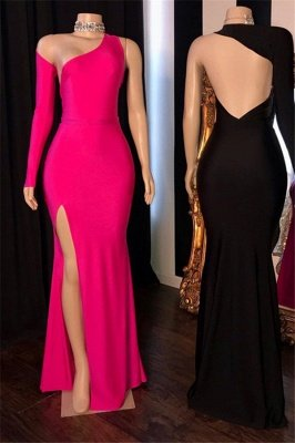 Sexy One-Shoulder Backless Side-Slit Mermaid Prom Dresses