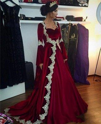 Schöne Weinrote Arabia Abendkleider | Muslimische Abendmode Mit Ärmeln_1