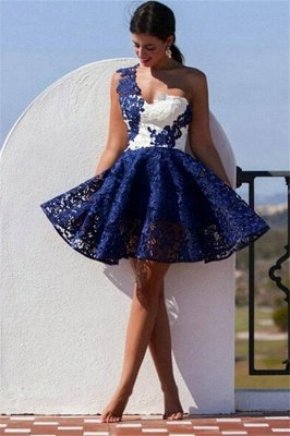 Cute One Shoulder Lace Homecoming Dress Short Prom Dress_2
