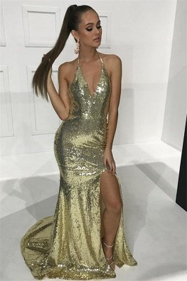 Sexy Halter V-Neck Sequins Open-Back Mermaid Prom Dresses