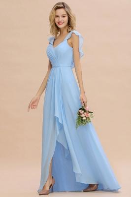 Candance | Simple Hi-Lo V-Neck Ruffles Long Bridesmaid Dress Online_5