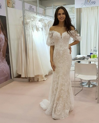Tulle Lace Strapless Sweetheart Short-Sleeves Long Wedding Dress_1