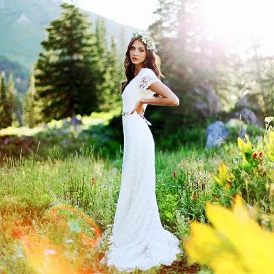 Elegant Lace Appliques Short-Sleeves Sheath Wedding Dress_2