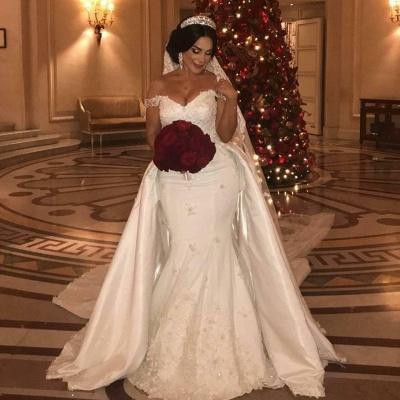 Appliques de dentelle chérie hors- la-épaule longue robe de mariée avec train détachable_2