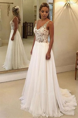 Charming V-Neck Sleeveless Appliques A-Line Floor-Length Prom Dress BC0875_3