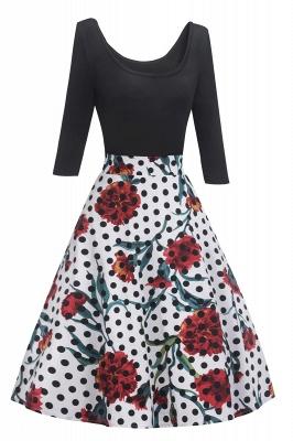 Beautiful Scoop robes à la mode manches 3/4   Polk-Dot Robes pour femmes_2