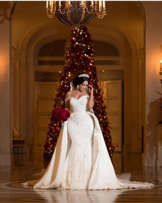 Appliques de dentelle chérie hors- la-épaule longue robe de mariée avec train détachable_4