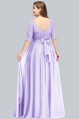 Plus Size Half Sleeves A-line Bridesmaid Dress Formal Dress for Wedding_3