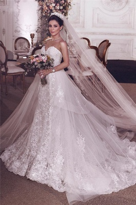 Stylish Strapless Sweetheart Tulle Appliques Wedding Dress_2