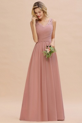 Beautiful V-neck Long Evening Dresses with soft Pleats | Sexy Sleeveless V-back Dusty Pink Womens Dress for Prom_11