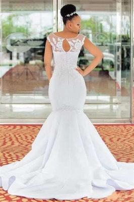 Mermaid Jewel Sleeveless Lace Appliques Wedding Dress_2