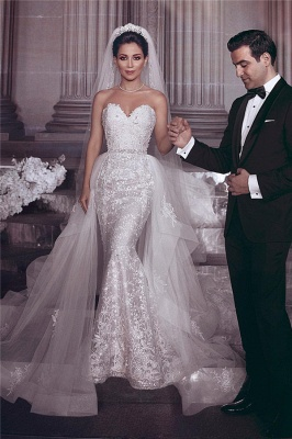 Stylish Strapless Sweetheart Tulle Appliques Wedding Dress_1