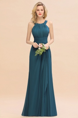 KENDALL  | Sexy A-Line Sleeveless Floor Length Ruffles Chiffon Bridesmaid Dresses Cheap Online_2