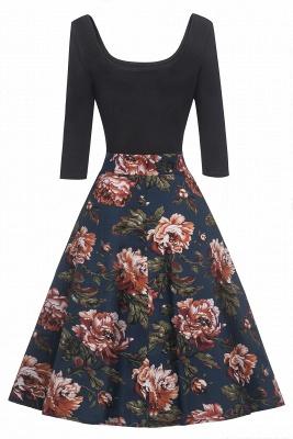 Attrayants scoop robes à la mode manches 3/4 | Robes florales de femmes_4