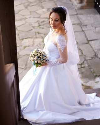 Chic Tulle Jewel Long-Sleeves Applqiues Wedding Dress with Pockets_3