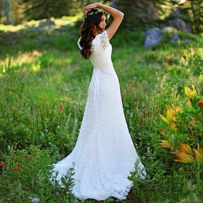 Elegant Lace Appliques Short-Sleeves Sheath Wedding Dress_4