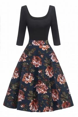 Attrayants scoop robes à la mode manches 3/4 | Robes florales de femmes_1