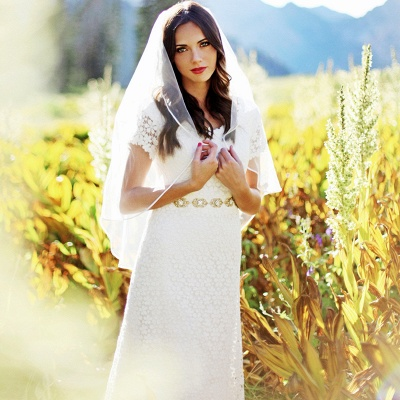 Elegant Lace Appliques Short-Sleeves Sheath Wedding Dress_3